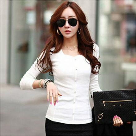 韓版長袖打底T恤衫短款修身珍珠鈕扣(2色S~2XL)