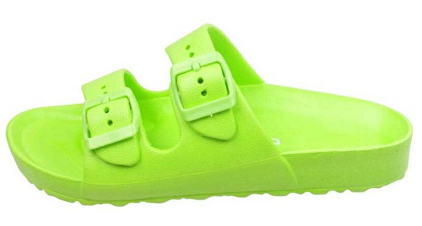【巷子屋】義大利國寶鞋-DIADORA迪亞多納 女款漾彩時尚雙釦勃肯超輕拖鞋 [3515] 綠 超值價$198