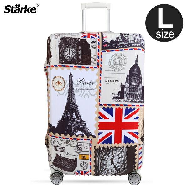 E&J【015001-11】Starke 高彈性行李箱套 -復古歐洲(L);適用適用27-30吋/防塵套/行李箱保護套