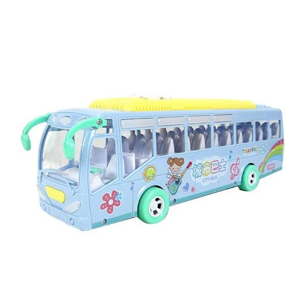 【888便利購】寶樂星6869炫麗燈光城市巴士(中型)(交通規則兒歌慣性動力)(ABS高級塑料)