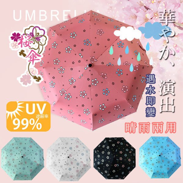 BO雜貨【SV7069】自動開合碳纖維抗UV變色晴雨傘-96公分(FL-028)抗紫外線UPF50+~雨天變色~無敵傘
