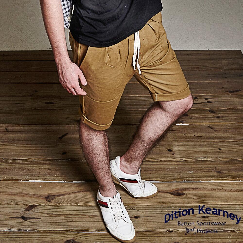DITION SHOP 韓系剪裁抽繩短褲哈倫褲 上寬下窄 民俗風串珠 0