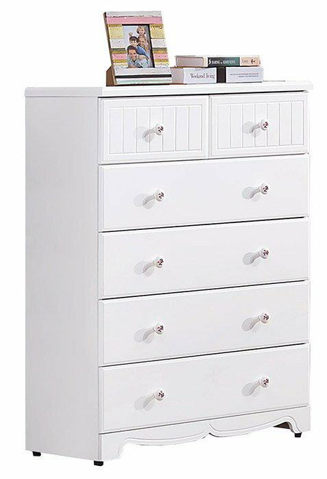 【尚品家具】 HY-A56-04 瑪莎白色五斗櫃