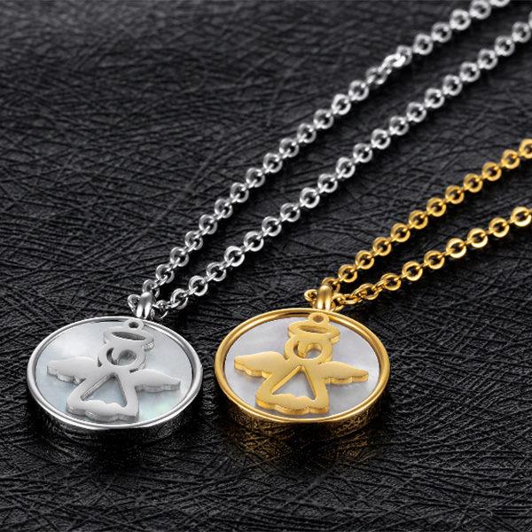 QBOX Fashion 飾品:《QBOX》FASHION飾品【C100N1356】精緻秀氣圓形貝殼天使鈦鋼墬子項鍊(金銀)