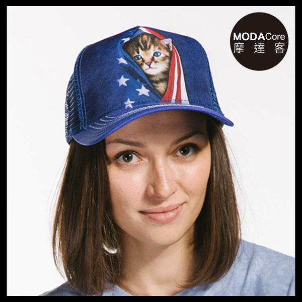 【摩達客】(預購)美國進口TheMountain愛國小貓藝術棒球帽網帽5-Panel新五分割帽