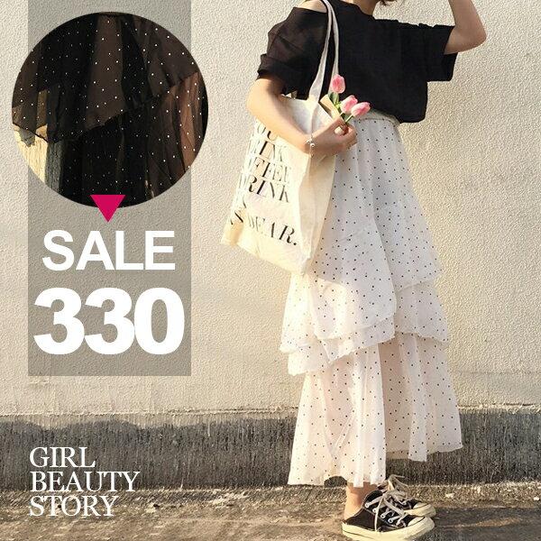 SISI~P7019~復古浪漫韓系水玉點點雪紡蛋糕裙長裙半身裙高腰顯瘦層層百褶蛋糕裙