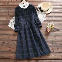 加絨加厚花邊立領格子連身裙(藍色M~2XL)*ORead*-OREAD-自由風格-流行女裝