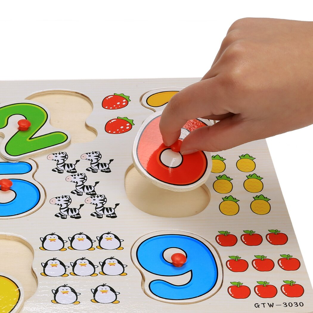 56pcs Wooden Toys Doug Deluxe Classic Peg Puzzle Bundle of 3 Puzzles Alphabet/number/Graph 6