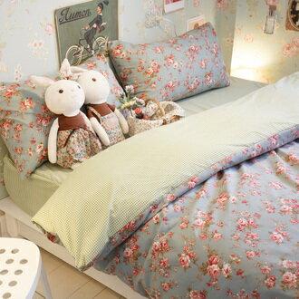 愛麗絲之花【床包綠色格子】  單人/雙人賣場   舒適磨毛布 台灣製造 0