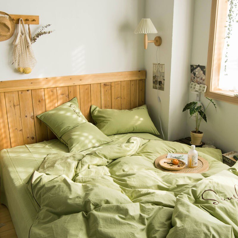 床包四件組  日系全棉水洗棉四件套繡花款純棉超柔被套床單床笠