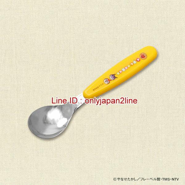 【真愛日本】16121700016塑膠柄不銹鋼湯匙黃-AP  Anpanman 麵包超人 餐具 湯匙 正品