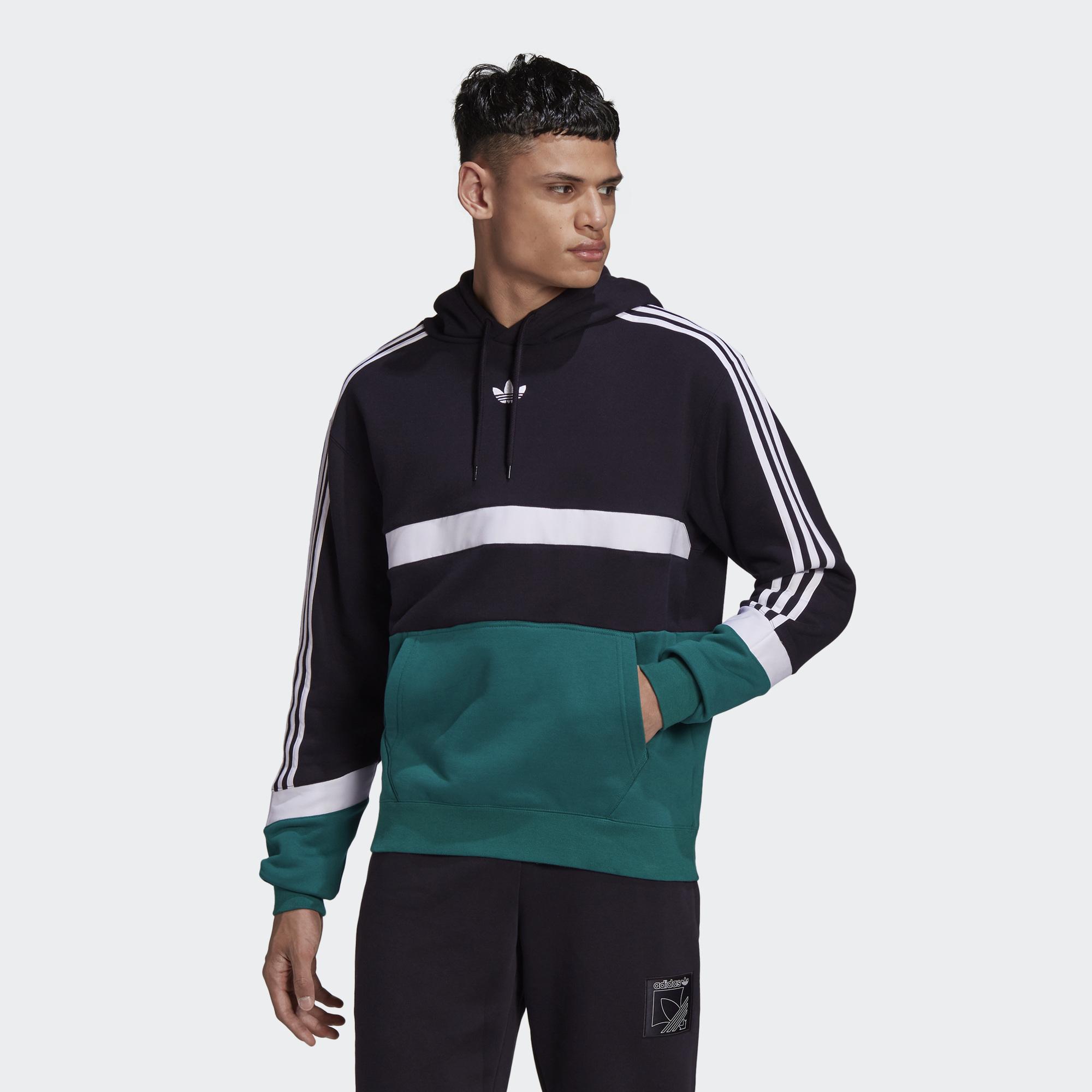Adidas ORIGINALS SPRT 男裝 長袖 連帽 休閒 帽T 純棉 撞色 三葉草 黑綠【運動世界】GJ6718
