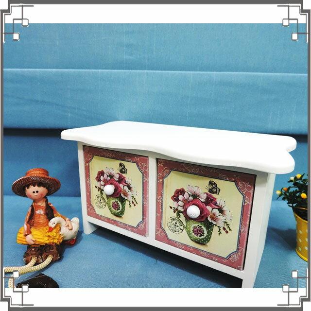 ↙8折↘洗白浪型二抽櫃《2W7》鄉村玫瑰桌上型二抽櫃 收納櫃 飾品珠寶盒 居家布置◤彩虹森林◥