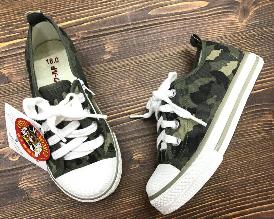 【巷子屋】童款迷彩側拉鍊休閒帆布鞋 台灣製造 [T906] 迷彩 超值價$200
