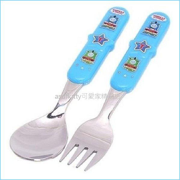 asdfkitty可愛家精品店:asdfkitty可愛家☆湯瑪士小火車藍色星星膠柄不鏽鋼湯匙+叉子-韓國製