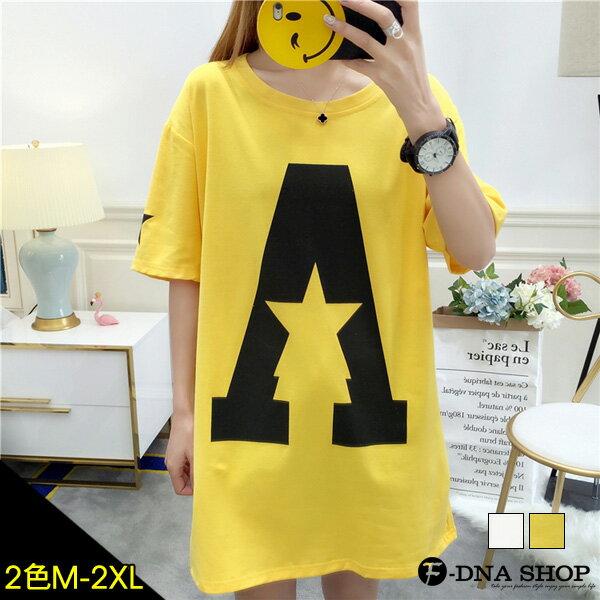 F-DNA★星星大A字母圓領短袖長版上衣T恤(2色-M-2XL)【ET12681】