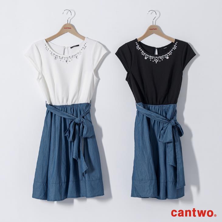 cantwo鑽飾小包袖丹寧系洋裝(共三色) 6
