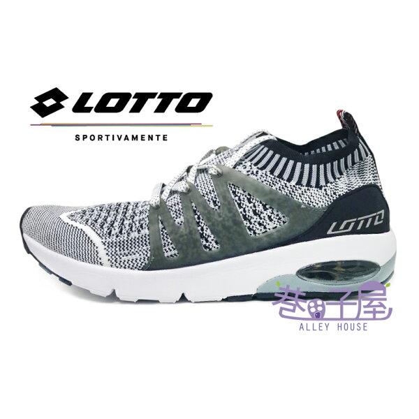 【巷子屋】義大利第一品牌-LOTTO樂得男款FiberWeave編織襪套運動跑鞋碟型避震[5058]灰白超值價$690