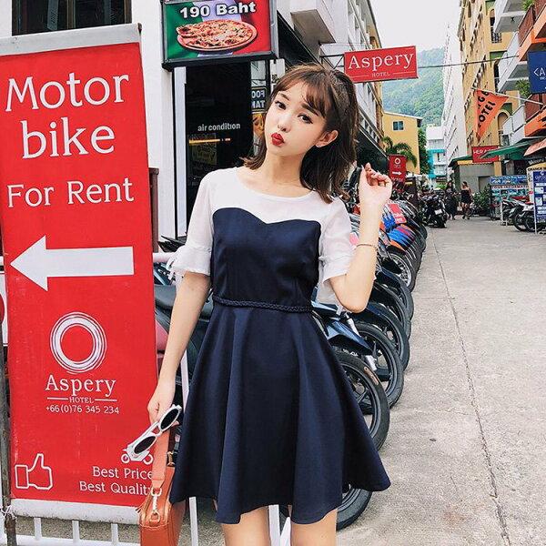 短袖洋裝雙色拼接編織繫帶荷葉短袖洋裝連身裙【NDF6302】BOBI0510