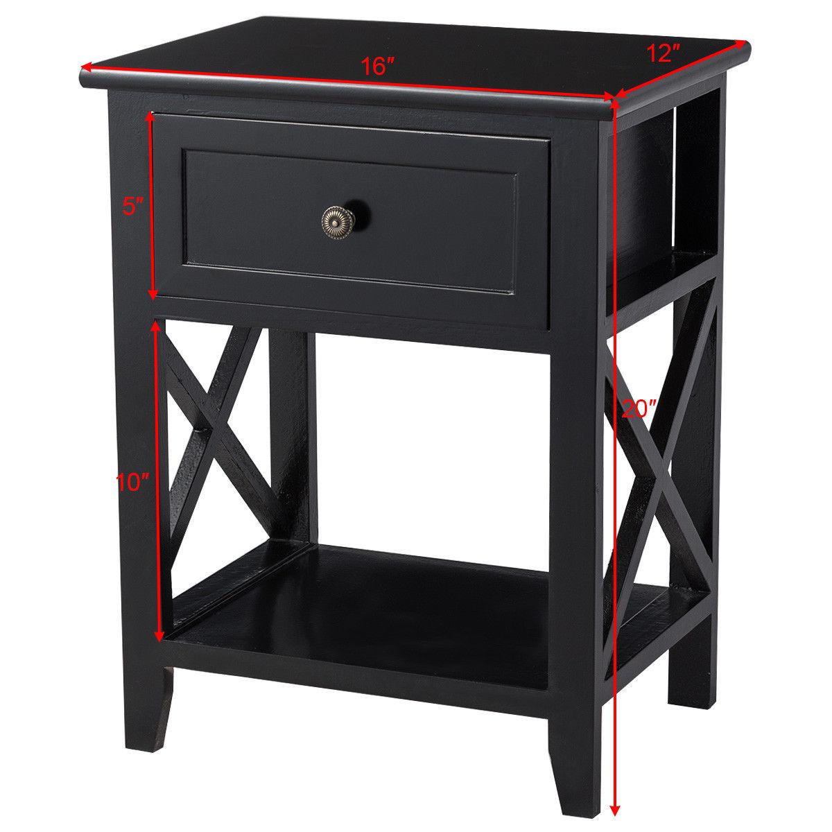 Costway End Bedside Table Nightstand Drawer Storage Room Decor W Bottom Shelf Black