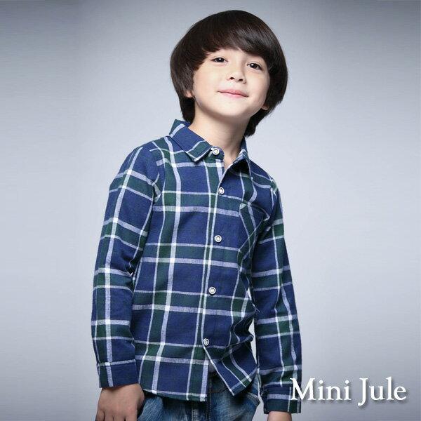 《Mini Jule 童裝》襯衫 格紋單口袋長袖襯衫 (綠)