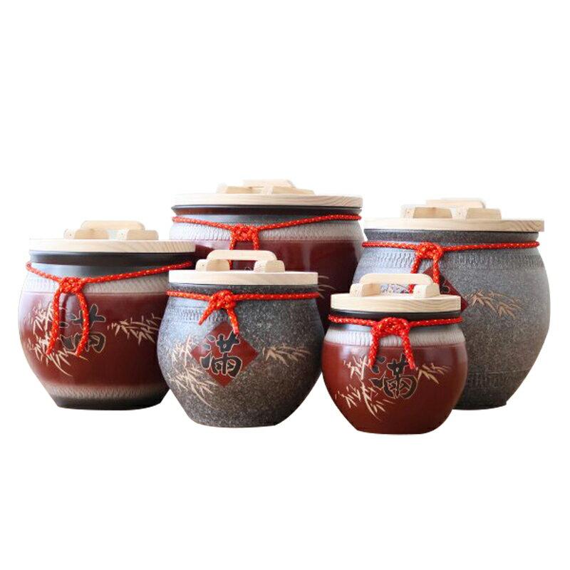 招財陶瓷米甕20台斤陶瓷米缸穀物罐茶罐多色可選-大廚師百貨