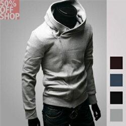 (現貨特價‧快速出貨)50%OFF SHOP【AG021258C】斜拉鍊薄款男式連帽衛衣