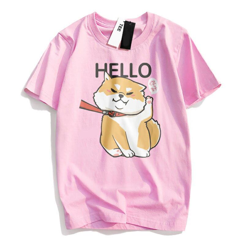 KUSO 搞笑 情侶裝 純棉短T MIT台灣製【YC686-17】萌寵 HELLO 你好 柴犬  動物萌寵 快速出貨 8