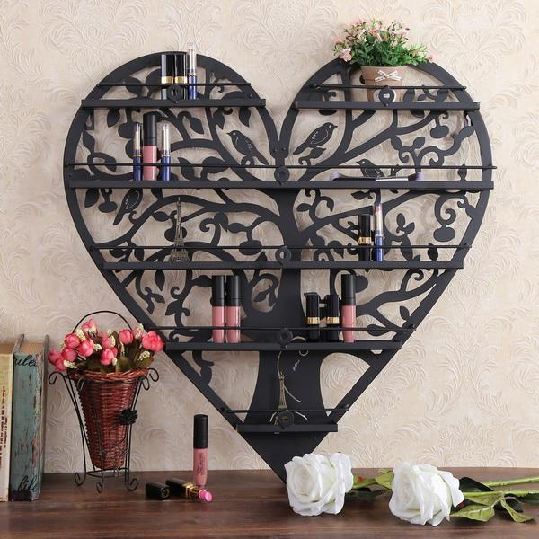 Heart Shape Nail Polish Wall Mount Metal Display Organizer Rack Holder 5