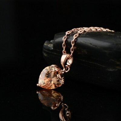 玫瑰金項鍊 水晶純銀吊墜~甜美可愛小桃心 情人節生日 女飾品4色73dw143~ ~~米蘭