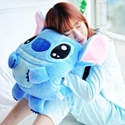 美麗大街【104090101】特大款迪士尼藍色史迪奇暖手手插抱枕