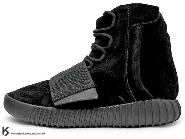 KUMASTOCK:[27cm]2015限量發售嘻哈歌手KanyeWest設計adidasYEEZY750BOOSTTRIPLEBLACK高筒麂皮黑色黏扣帶(BB1839)!
