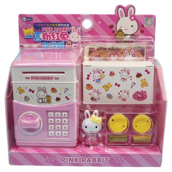 一言粉紅兔存錢罐 金庫 YY17052 / 一個入(促199) 存錢筒 貯金箱-生K3397 0