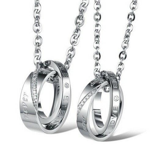~SiSi 派對~ 精美飾品 簡約雙環love情侶項鍊 對鍊^(銀^) ~  好康折扣