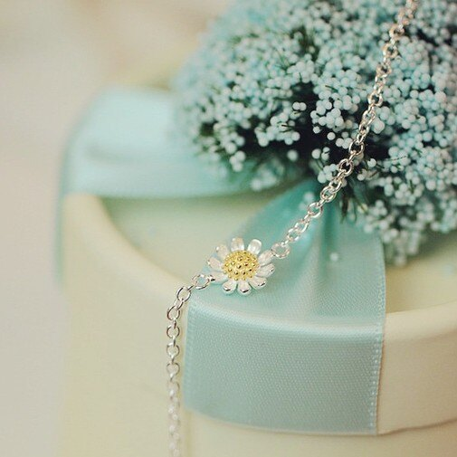 ~SiSi 派對~ S925純銀 新品甜美小雛菊花朵手鍊 手飾