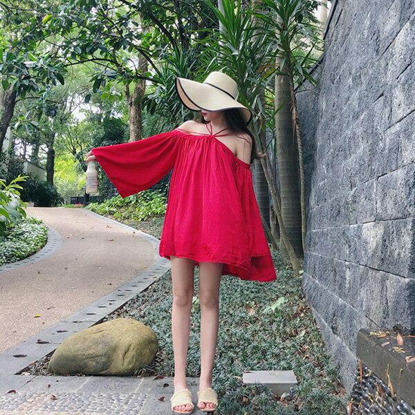 PS Mall 一字領露肩掛脖喇叭袖中長款寬鬆防曬衫連身裙【T576】 2