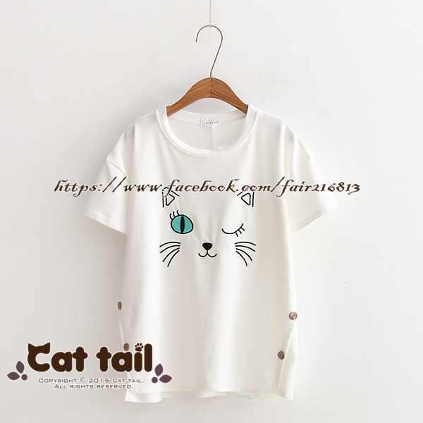 《貓尾巴》TS-0625日系貓咪刺繡短袖T恤(森林系日系棉麻文青清新)