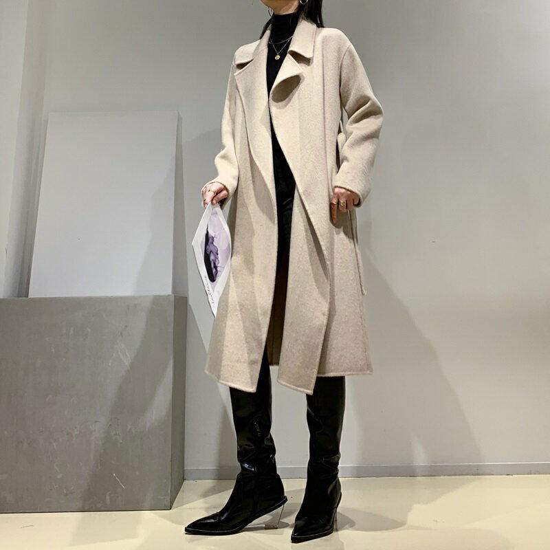 毛呢大衣羊毛外套-長版純色翻領寬鬆女外套2色73wb46【獨家進口】【米蘭精品】 1