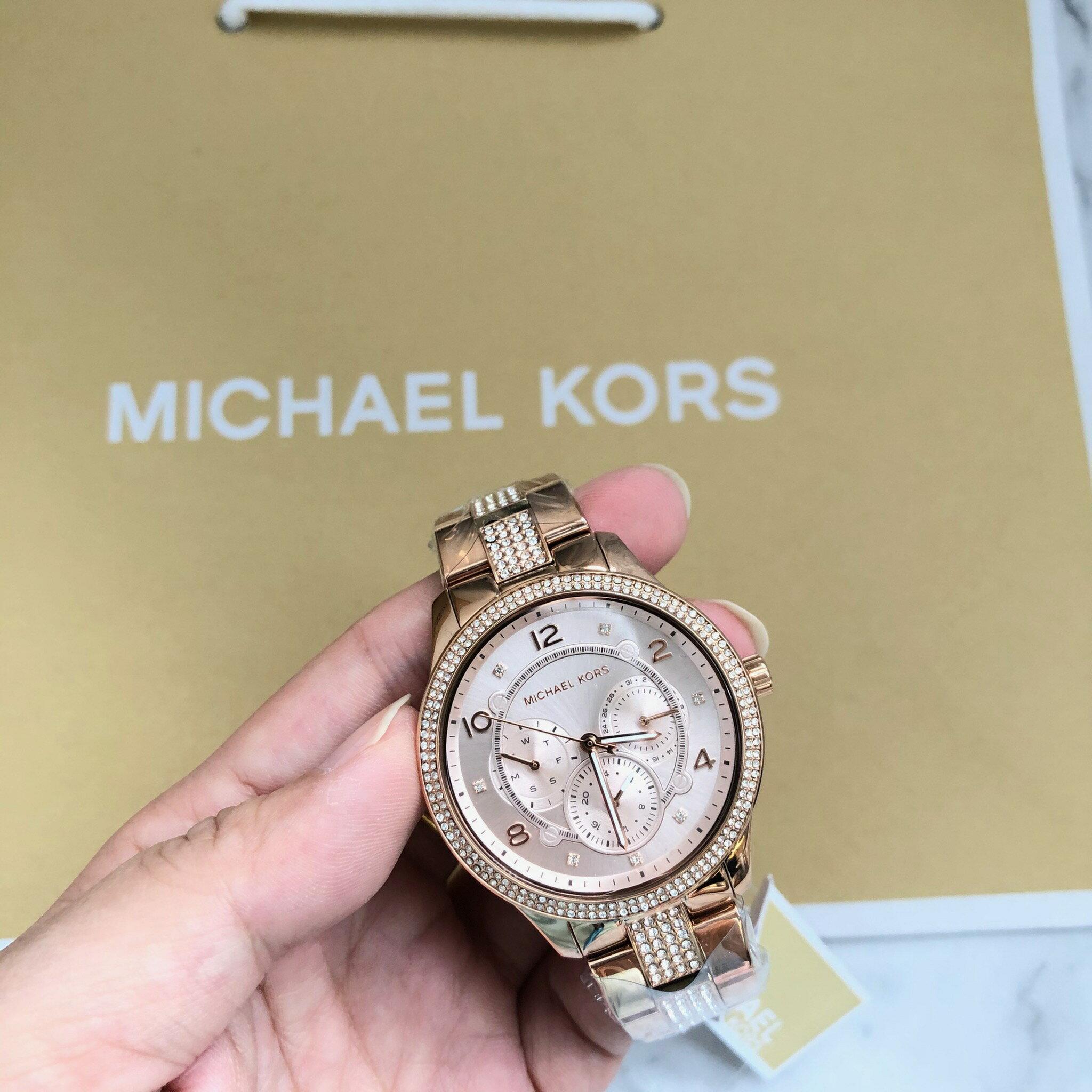 美國百分百【全新真品】 Michael Kors 手錶 MK 腕錶 禮盒 專櫃精品 MK6614 玫瑰金 女款 AQ16