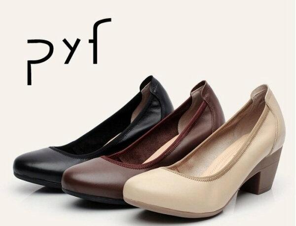 Pyf♥黑色素面鬆緊柔軟真皮軟方跟高跟鞋低跟上班鞋OL4243大尺碼女鞋