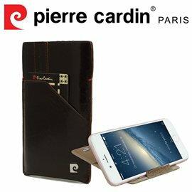 [ iPhone 6/6s ] Pierre Cardin 法國皮爾卡登4.7吋高級牛皮口袋可站立抽取式手機套/皮套 咖啡色