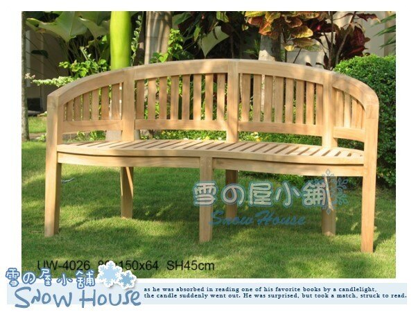 ╭☆雪之屋小舖☆╯UW-4026柚木戶外雙人弧形椅休閒椅餐椅