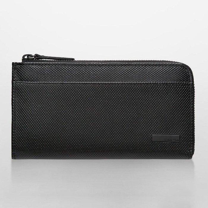 美國百分百【Calvin Klein】皮夾 CK 長夾 真皮 拉鍊 皮革 中長夾 證件夾 護照夾 零錢鈔票 黑 I131