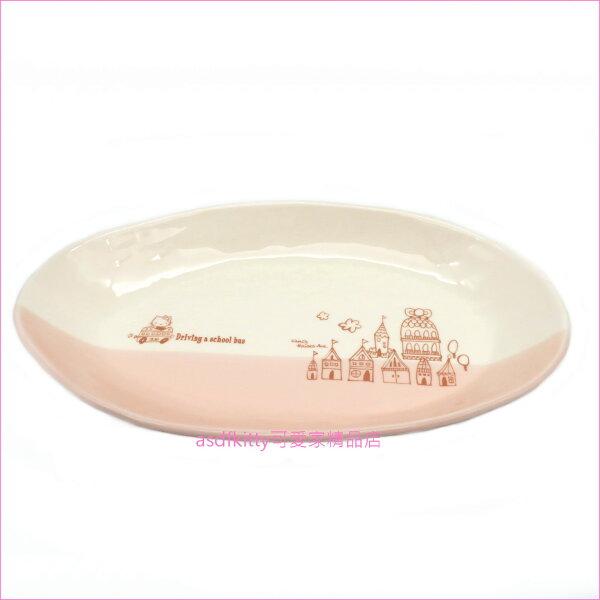 asdfkitty可愛家☆日本金正陶器KITTY去上學長橢圓陶瓷盤咖哩盤餐盤-可微波-304112-日本製