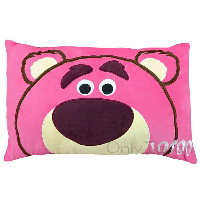 【真愛日本】17122600008 電繡蜜絲絨雙人枕-熊抱哥 皮克斯 玩具總動員 TOY 草莓熊 枕頭 抱枕 靠枕