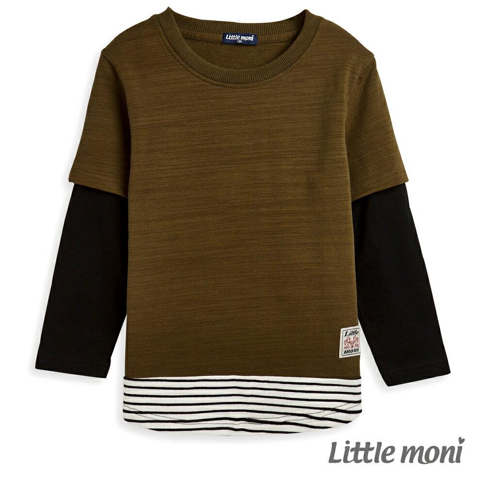Little moni 圓領拼接假兩件T恤 -軍綠 0