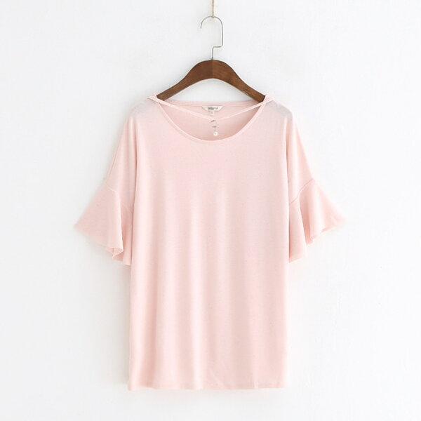 針織圓領珍珠亮晶晶喇叭短袖T恤樂天時尚館。預購。[全店免運]