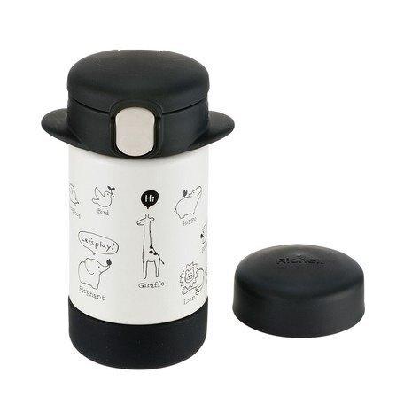 【Richell 利其爾】俏皮黑隨身型兩用不鏽鋼保溫杯-兒童水壺-動物園-黑-160ml