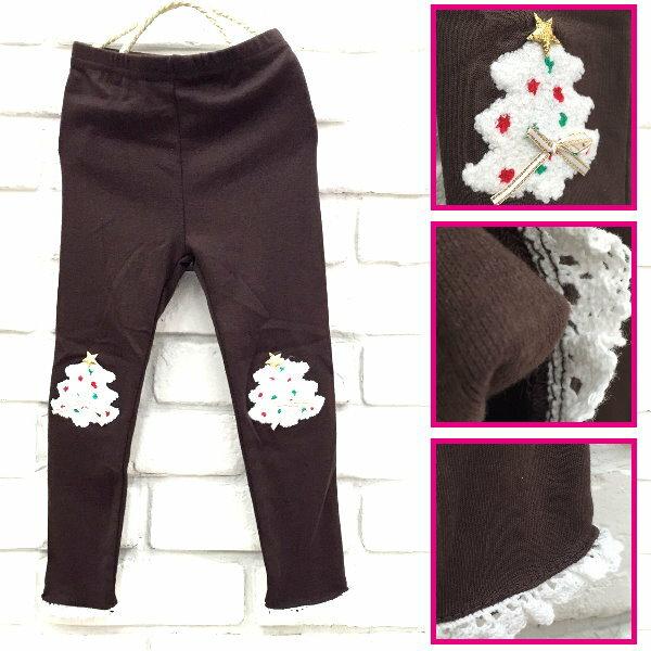 【班比納精品童裝】彈力聖誕樹內搭褲-咖啡【BN151006011】