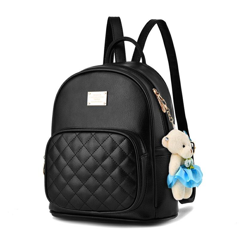 經典斜格紋小熊吊飾時尚休閒後背包#KLY8756